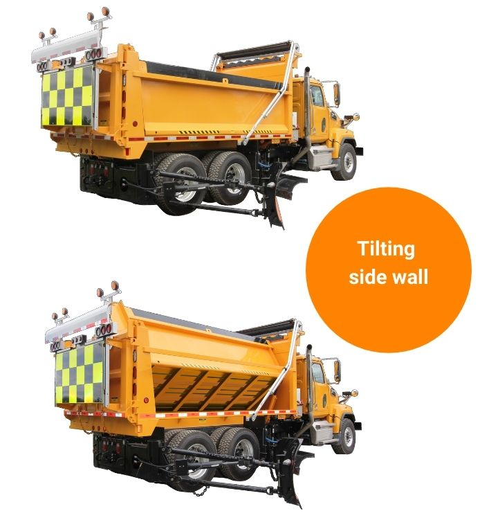 12M the only dump body/spreader with a side tilting wall to migrate media on feed conveyor